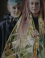 GOLDKINDER Hanna und Laura 170 x 90 cm Oel auf Leinwand 2016'18